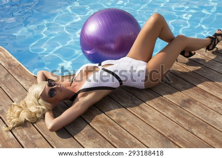 Fashion woman swimming pool stock photo 386598526 shutterstock for Female only swimming pool london