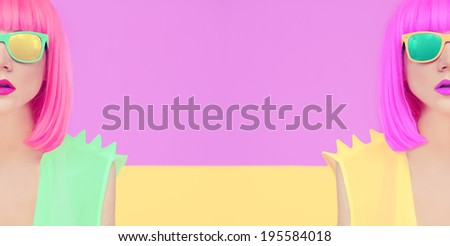 Fashion party girl multicolored mix - stock photo