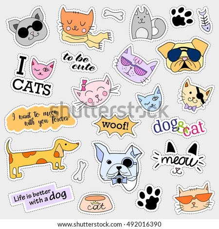 Fashion Patch Badges Cat Dog Set Stock Vector 487599637 ...