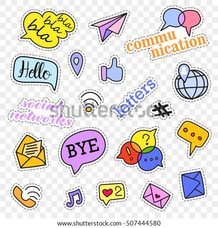 Fashion patch badges.Social networks set.Stickers,pins,patches and handwritten notes collection in cartoon 80s-90s comic style. illustration isolated on transparent background.  Rasterized Copy