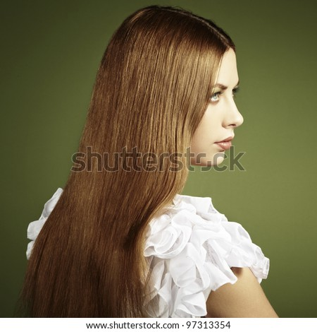 Fashion photo of a young woman with red hair. Close-up - stock photo