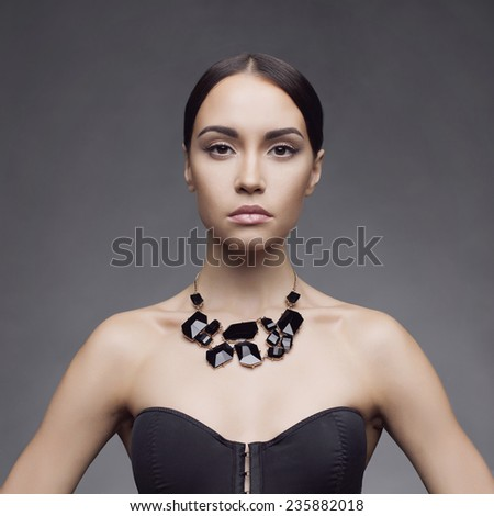 Fashion photo of beautiful lady wear elegant necklace - stock photo