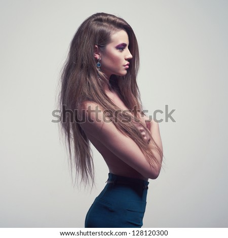 Fashion photo of beautiful lady with magnificent hair - stock photo