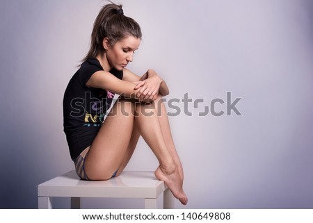 Fashion photo of beautiful model - stock photo
