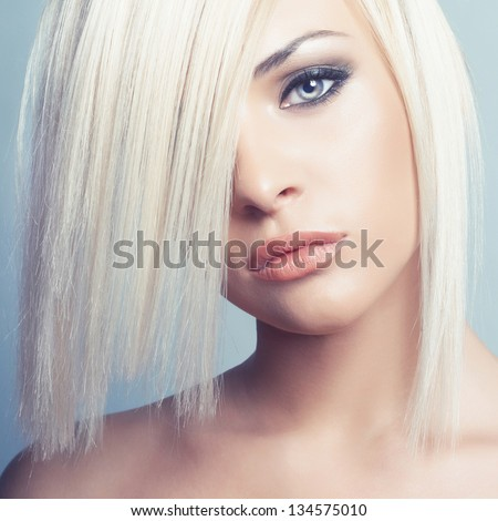Fashion photo of beautiful sexy blonde with short haircut - stock photo