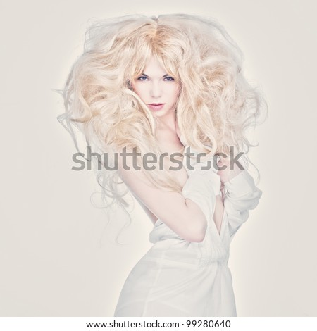 Fashion photo of beautiful woman with blond hair