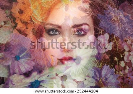 Fashion photo of beautiful women under veil. Beauty portrait. Perfect makeup - stock photo