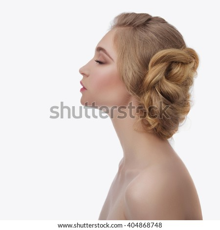 fashion photo of beautiful young woman with hairstyle. Beauty hairstyle blond girl - stock photo