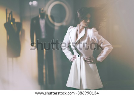 Fashion photo of young magnificent woman. Girl posing. Beautiful girl with beautiful makeup, youth and skin care concept / photoset of attractive girl.  Photo has an intentional FILM GRAIN )  - stock photo