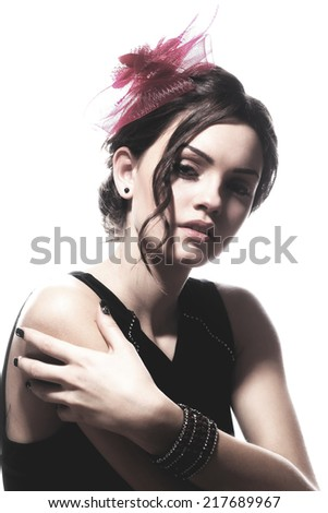 Fashion photo of young magnificent woman. Girl posing. Studio photo .Vogue style photo of a young beauty.