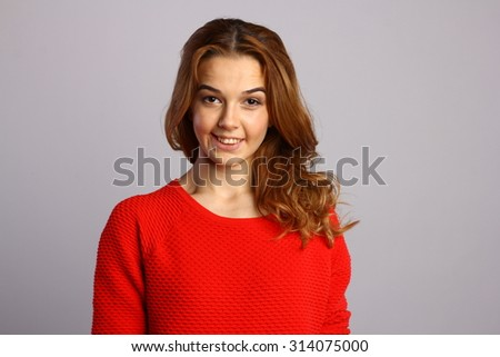 Fashion photo of young smiling woman with shiny healthy brunette hair, awesome perfect natural skin. Photo for retouch or school project. - stock photo