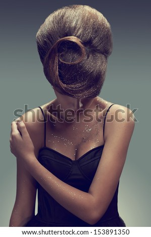 fashion picture of young woman with creative hairstyle  - stock photo