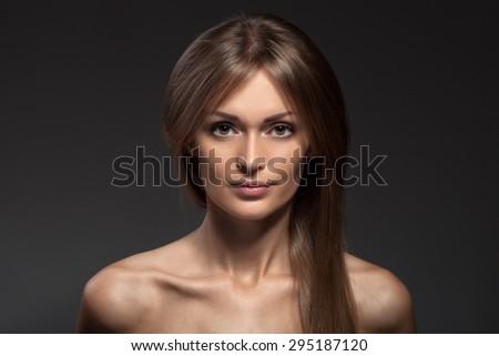 Fashion Portrait. Beautiful Woman Face. Long Healthy Hair. - stock photo