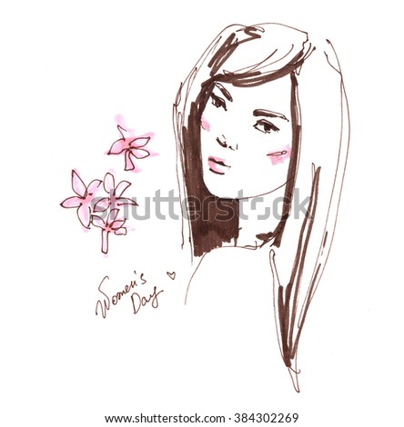 Fashion portrait drawing sketch illustration of a young woman face hand drawn fashion model