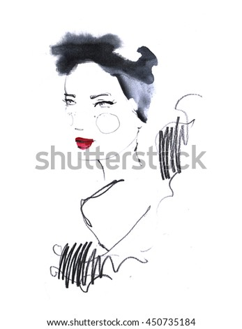 Fashion portrait drawing sketch. Illustration of a young woman face on white background. Hand drawn fashion model face. Ink, pencil, watercolor. Vintage design for fabric, card, poster, postcard, book