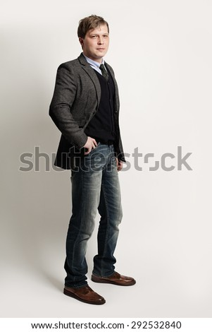 Fashion Portrait Handsome Man Businessman - stock photo