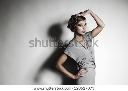 fashion portrait in studio isolated on white