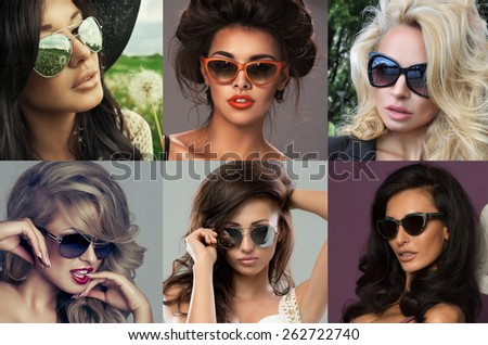 Fashion portrait of a beautiful brunette woman with shot hairstyle with  sunglasses - studio photo  - stock photo