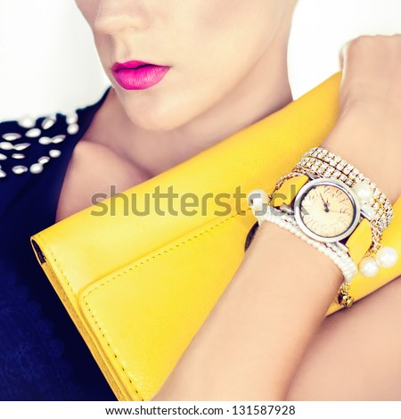 fashion portrait of a beautiful girl in the evening style - stock photo