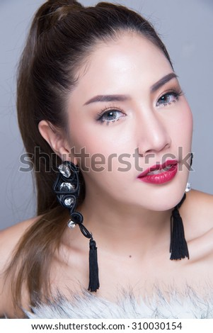 Fashion portrait of a beautiful woman skin and clear - stock photo