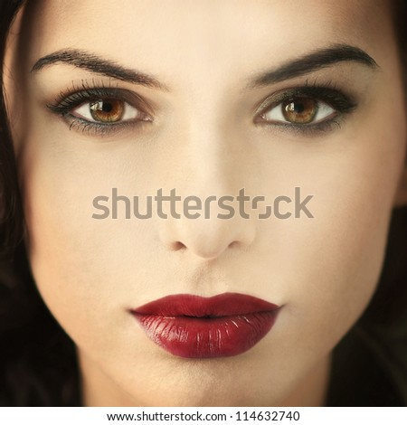 fashion portrait of a beautiful young woman with red lips - stock photo