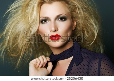 Fashion portrait of a blonde with red lipstick. Beauty