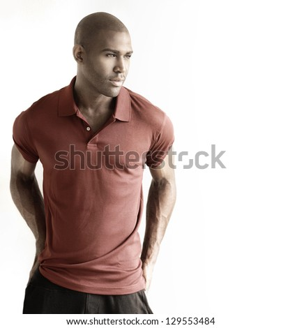 Fashion portrait of a casual male model against white background with copy space