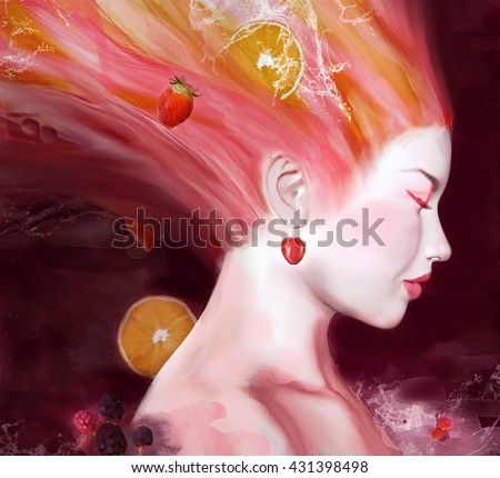 Fashion portrait of a girl with fruits in her hairs - 3D and watercolors illustration - stock photo