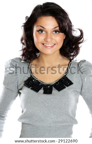 Fashion portrait of a professional model, isolated on a white background