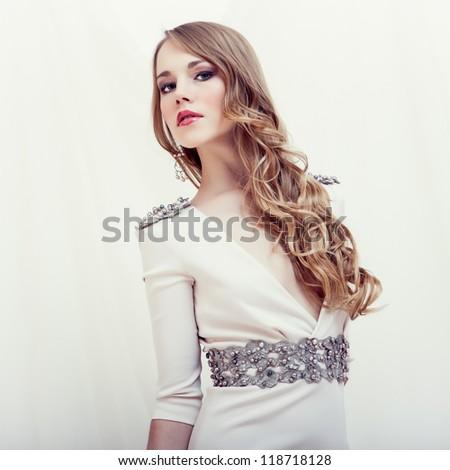 fashion portrait of a sensual girl - stock photo