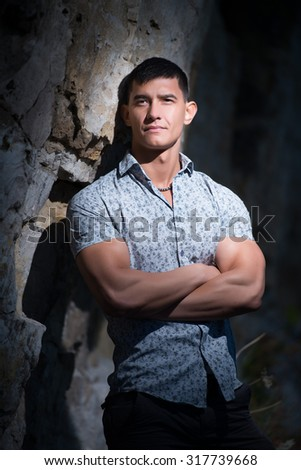 Fashion portrait of a sporty, athletic, muscular sexy man