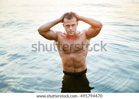Fashion portrait of a very muscular sexy man