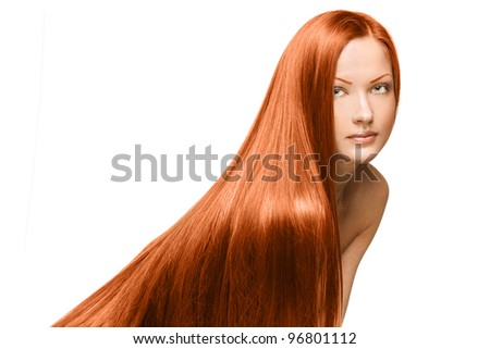 fashion portrait of a woman with beautiful long shiny hair  , clean face
