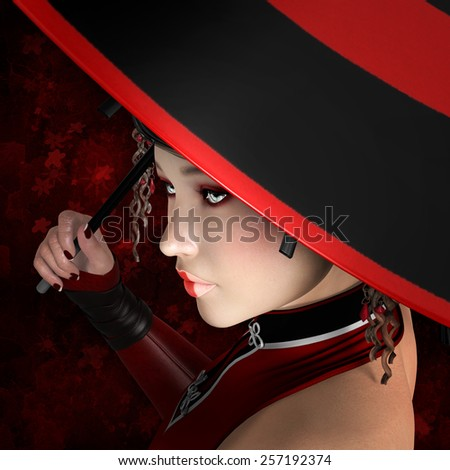 Fashion portrait of a woman with red umbrella - stock photo