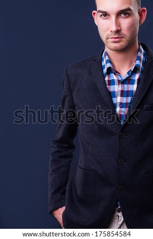 fashion portrait of a young man - he is now a professional model - stock photo