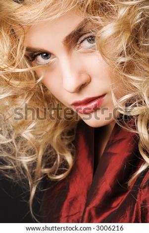 fashion portrait of beautiful blonde girl - stock photo