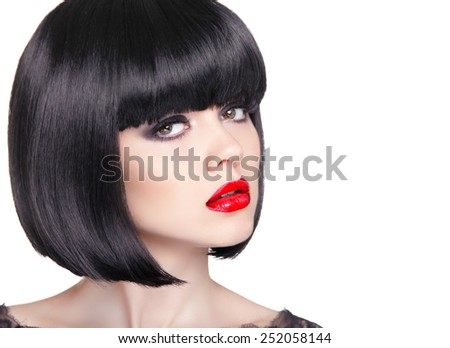 Fashion portrait of beautiful brunette woman with red lips and short bob black hair style isolated on white background, studio photo. - stock photo