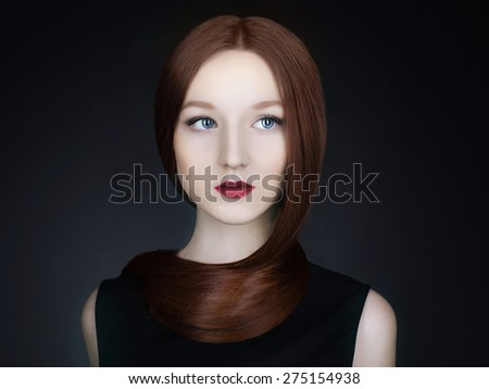 fashion portrait of Beautiful girl model with Long healthy red hair.young woman - stock photo