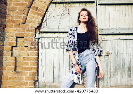 Fashion Portrait Beautiful Hippie Young Woman Stock Photo ...
