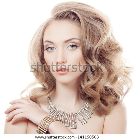 Fashion Portrait Of Beautiful Luxury Woman With Jewelry Isolated - stock photo
