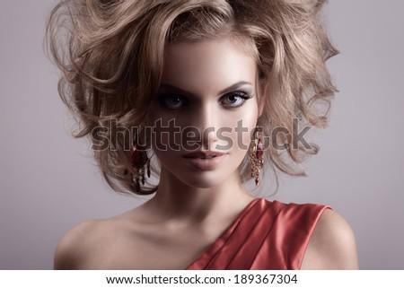 Fashion Portrait Of Beautiful Woman. - stock photo