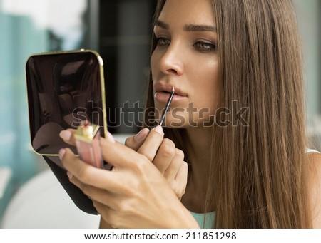 Fashion portrait of beautiful woman - stock photo