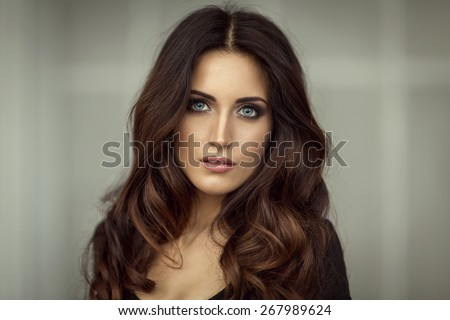 Fashion portrait of beautiful woman - stock photo
