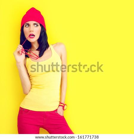 Fashion portrait of bright stylish girl - stock photo