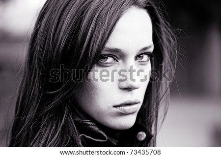 fashion portrait of extremly beautiful young woman