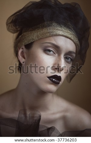 fashion portrait of extremly beautiful young woman for magazine cover