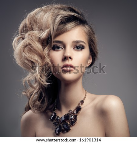 Fashion Portrait Of Luxury Woman With Jewelry. - stock photo