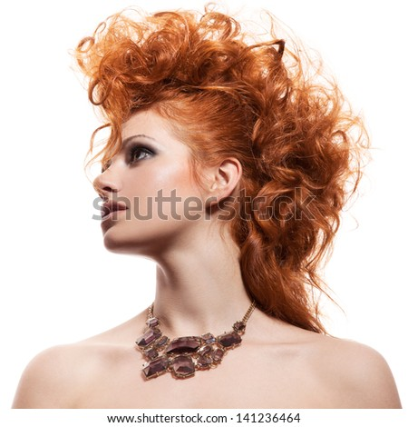 Fashion Portrait Of Luxury Woman With Jewelry Isolated