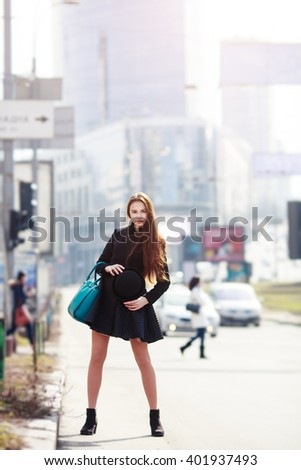 Fashion portrait of sensual amazing  lady in spring casual  outfit, black hat