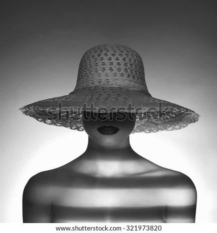 fashion portrait of sexy naked woman in hat. nude girl - stock photo
